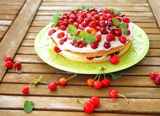 Cream and Cherry Cake