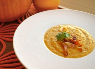 Pumpkin Puree Soup with Vegetables and Bacon