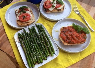 Toast with Roasted Bell Pepper and Garlic, Asparagus with Sesame Vinaigrette and Bruschetta