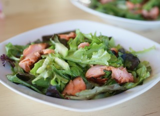 Green Salad with Hot Salmon