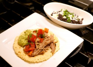 Homemade Corn Tortillas with Puerto Rican Shredded Pork with Pico de Gallo, Guacamole and Black Beans
