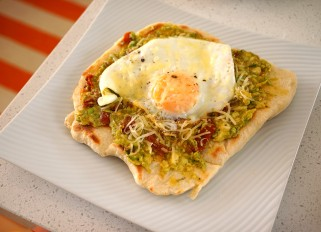 Pizza with Tomato, Avocado and Egg