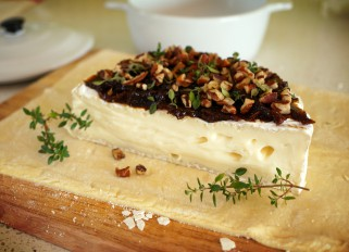 Baked Brie with Fig Jam and Nuts