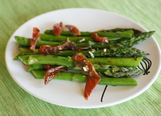 Grilled Asparagus with sun- dried tomatoes