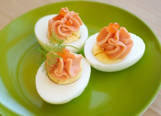 Stuffed eggs with salmon pate