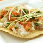 Fish Ceviche on Corn Tortillas