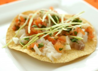 Fish Ceviche on Corn Tortillas