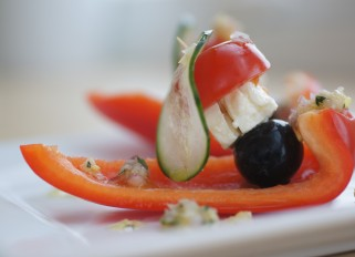 Vegetables and Feta Cheese Appetizer