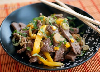 Beef with Vegetables in a Wok