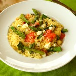 Orzo with Asparagus, Cherry Tomatoes and Mozzarella