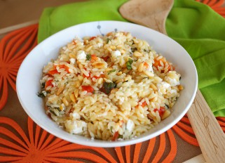 Orzo with Tomatoes, Pepper and Feta