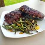 Smoked ribs with grilled vegetables