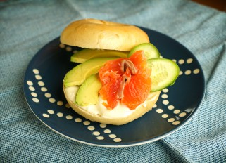 Bagels with horseradish sauce, salmon and avocado