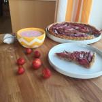 Rhubarb pie with strawberry cream