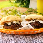Burger with caramelized Onions, Figs and Goat Cheese