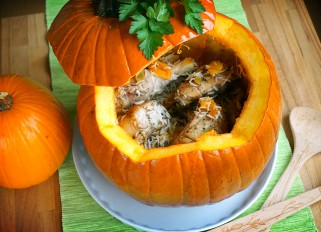 Chicken Baked In Pumpkin With Rice