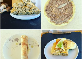 Crepes with meat, mushrooms and egg
