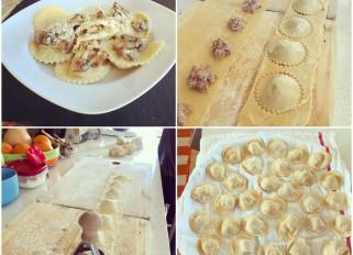 duck confit ricotta ravioli with mushroom thyme sauce