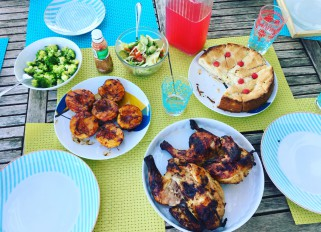 Smoke grilled chicken, grilled peaches with balsamic, broccoli with garlic butter, avocado tomato cucumber salad and custard apple pie