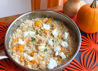 Butternut squash risotto with sage, thyme, goat cheese and Parmesan