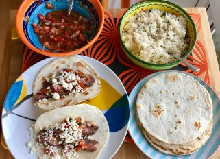 Acapulco steak tacos with pico de gallo and cilantro- lime rice