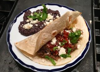 Pork Dinner, Day #4: Flour Tortillas Pork Tacos with Black Beans and Queso Fresco