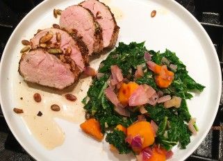 Cortez pork Tenderloin with kale and butternut squash saute