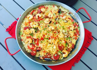 Spanish night, chorizo shrimp paella with chicken