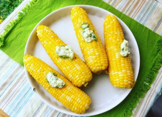 Sweet corn with cilantro jalapeño lime zest butter