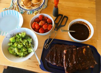 Bbq ribs with marinated garlic herbs tomatoes, broccoli and cottage cheese Pancakes