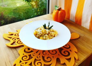 Pumpkin bacon sage risotto