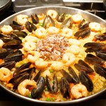 Seafood paella with chorizo and chicken