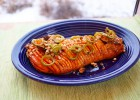 Hasselback Butternut Squash with a Sweet and Spicy-Glaze, Thyme and Nuts