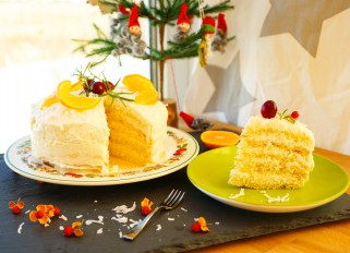 Coconut-Orange Cake with Cream Cheese