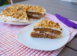 Cake with Condensed Milk, Nuts and Whipped Cream