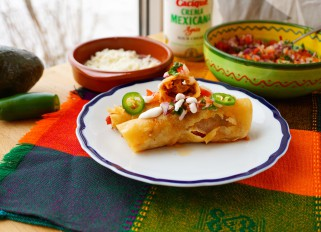 Slow cooker pork tinga ( pulled pork) flautas with chorizo, tomato chipotle