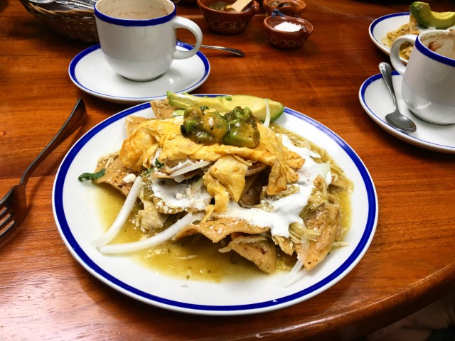 Chilaquiles with chicken and eggs