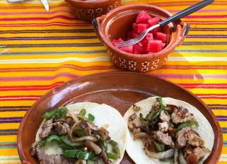 tacos arrachera and tacos de cerdo