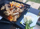Grilled onions, lime garlic chicken and pork pineapple shashlik