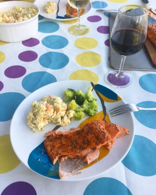 Smoked salmon with olivie and broccoli