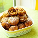 Banana bread pancake bites with walnuts and chocolate