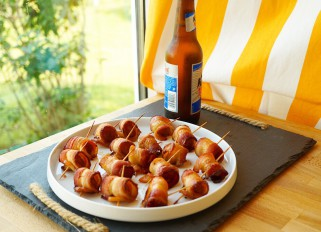 Bacon - wrapped water chestnuts
