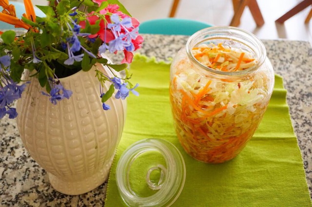 Pickled cabbage and Korean carrots