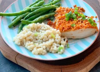 Crispy Parmesan chicken with Israeli couscous and green beans