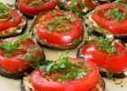 Fried eggplant with garlic mayo and tomatoes