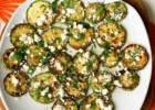 Fried zucchini with olive oil, garlic, lime juice, cilantro and feta.