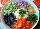 Mediterranean Couscous Salad with Lemon Herb Dressing, Feta Cheese and Vegetables