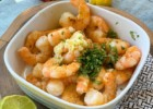 Garlic shrimp with cilantro and lime juice