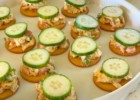 Creamy chicken salad bites, with crackers and cucumbers