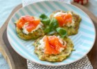 Zucchini pancakes with Boursin cream cheese and salted salmon